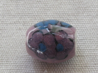Ceramic bead, oval 18x13mm, purple, 1 pcs