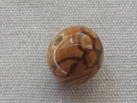 Ceramic bead, round, 14mm, brown, 1 pcs