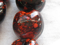 Kukui, nut, orange marble, 1 pcs