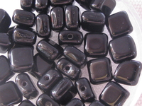 Glass bead, flat square, 6x6mm, black, 40 pcs