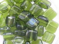 Glass bead, flat square, 6x6mm, olive, 40 pcs