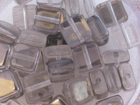 Glass bead,  flat square, 6x6mm, grey, 40 pcs