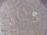 Glass bead, flat square, 6x6mm, clear, 40 pcs