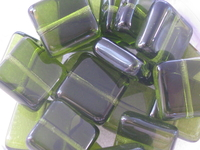 Glass bead, flat square, 9x9mm, olive, 20 pcs