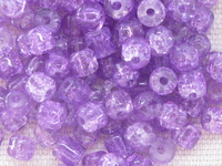 Glass bead, crackle, cylinder, 4x4mm, lilac, 150 pcs