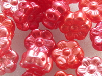 Glass bead, flower, 8mm, red, 18 pcs