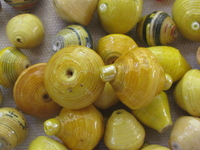 Paper bead, yellow, 1 pcs