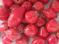 Paper bead, red, 1pcs