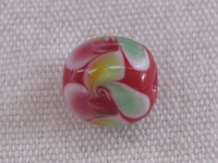 Glass bead, round, 12mm, red, flower decoration, 1pcs