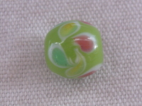Glass bead, round, 12mm, lime, flower decoration, 1 pcs