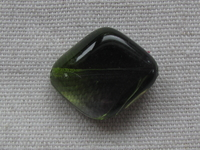 Glass bead, diamond, 24x20mm, green, 1 pcs