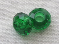 Glass bead, big hole, 14x8mm, faceted, green, 1 pcs