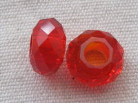 Glass bead, big hole, 14x8mm, faceted, red, 1 pcs