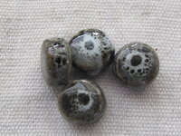 Ceramic bead, flat round, 10mm, grey, 1 pcs