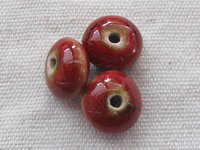 Ceramic bead, saucer, 10x7mm, red, 1 pcs