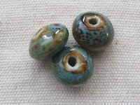 Ceramic bead, saucer, 10x7mm, turqoise, 1 pcs