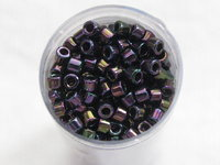 Delica bead, 11/0, metallic purple green gold iris, 7,2g