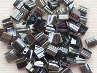 Tila bead, 5x5mm, 2 hole, light gun metal, 7.2gr