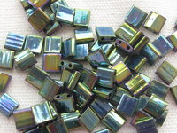 Tila bead, 5x5mm, 2 hole, metallic green iris, 7.2gr
