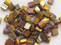Tila bead, 5x5mm, 2 hole, metallic gold iris, 7.2gr