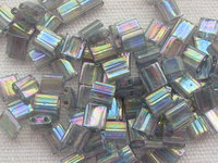 Tila bead, 5x5mm, 2 hole, dark tr grey rainbow luster, 7.2gr
