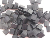 Tila bead, 5x5mm, 2 hole, matte black, 7.2gr