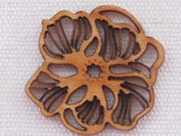 Palm wood pendant, flower, light wood, 1 pcs