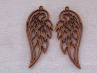 Palm wood pendant, wing, light wood, 1 pcs