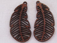 Palm wood pendant, leaf, dark wood, 1 pcs
