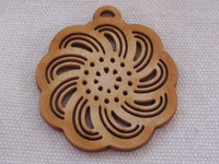 Palm wood pendant, big flower, light wood, 1 pcs
