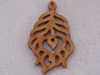 Palm wood pendant, heart leaf, light wood, 1 pcs