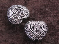 Metal bead, large, heart 15x8mm, 1pcs