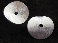Metal bead, flat round, brushed, 14mm, 1 pcs