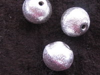 Metal bead, round, brushed, 10mm, 1 pcs