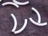 Metal bead, curved tube, 18mm, 1 pcs