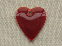 Enamel heart, red, 20x23mm, 1 pcs