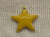 Enamel star, yellow, 22mm, 1 pcs