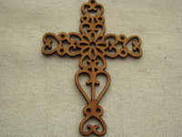 Wooden lace pendant, large, cross, 1 pcs