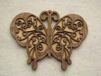 Wooden pendant, large, butterfly, 1 pcs