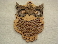 Wooden pendant, large, owl, 1 pcs