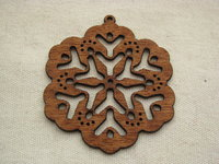 Wooden pendant, large, dark flake, 1 pcs