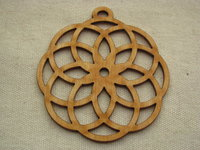 Wooden pendant, large, round flower, 1 pcs