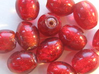 Glass bead, silverfoil, oval, 10x8mm, red, 12 pcs