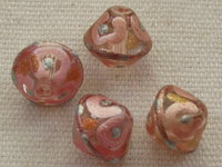 Handpainted, bicone, 9x10mm, pink, 1 pcs