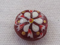 Handpainted, glass bead, mentos, 14x7mm, red, flower, 1 pcs