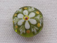 Handpainted, mentos, 14x7mm, green, flower, 1 pcs