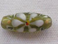 Handpainted, oval, 25x9mm, green, flower, 1 pcs