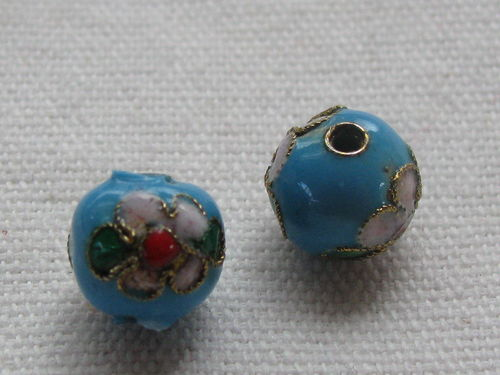 Cloisonne, round, pale blue, 9mm, 1 pcs