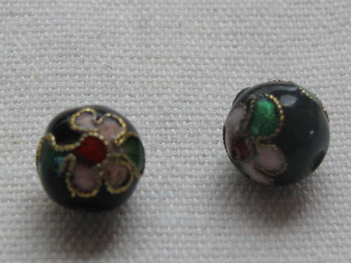 Cloisonne, round, black, 9mm, 1 pcs