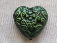 Brass heart, 25x27x9mm, green, 1 pcs